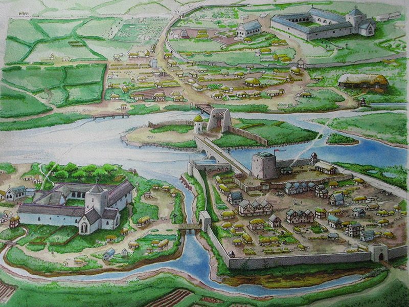 Image of late medieval Athy in the 1500's